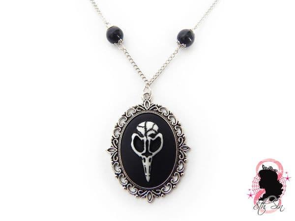 Antique Silver Bird Skull Cameo Necklace